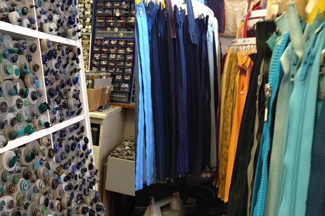 Buttons and zippers at unknown fabric store in Turku, Finland