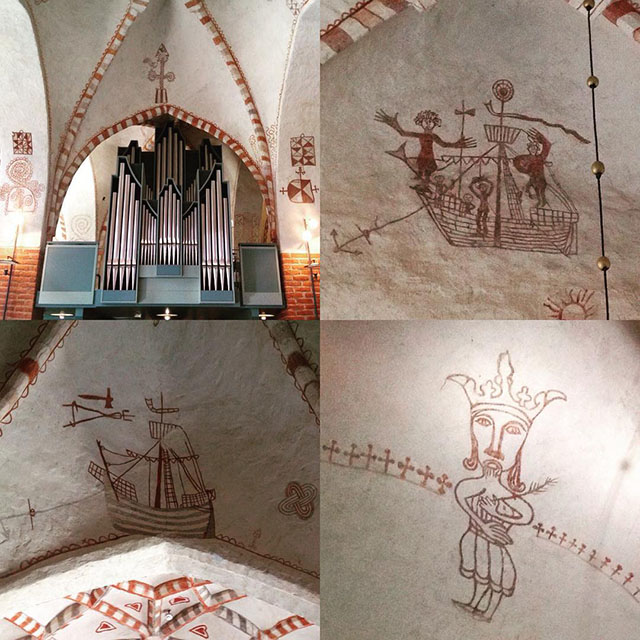 Interior drawings from St. Mary's Church in Turku, Finland dating from the late 13th century.