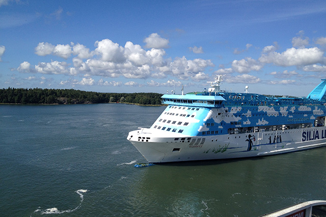 Silja Ship cruising from Turku to the Åland Islands in the Gulf of Bothnia in the Baltic Sea.