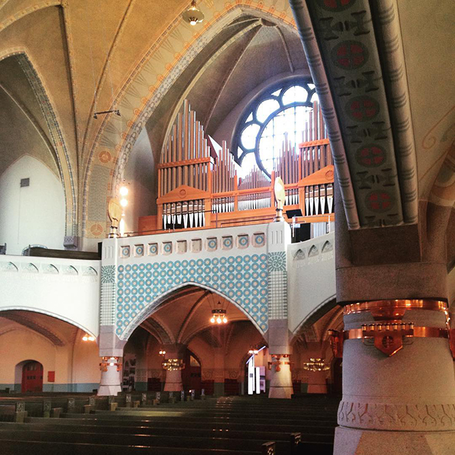 Organ and Rose window at St. Michael's Church in Turku, Finland