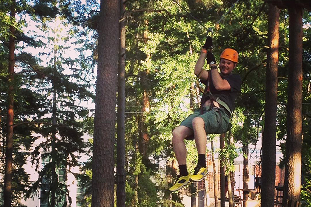 Enjoying the zip line at Flowpark in Turku, Finland